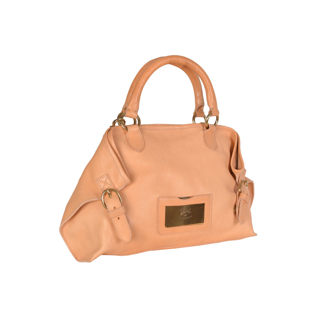 NEW IL BISONTE WOMAN'S SAVAGE COLLECTION HANDBAG IN BEIGE LEATHER