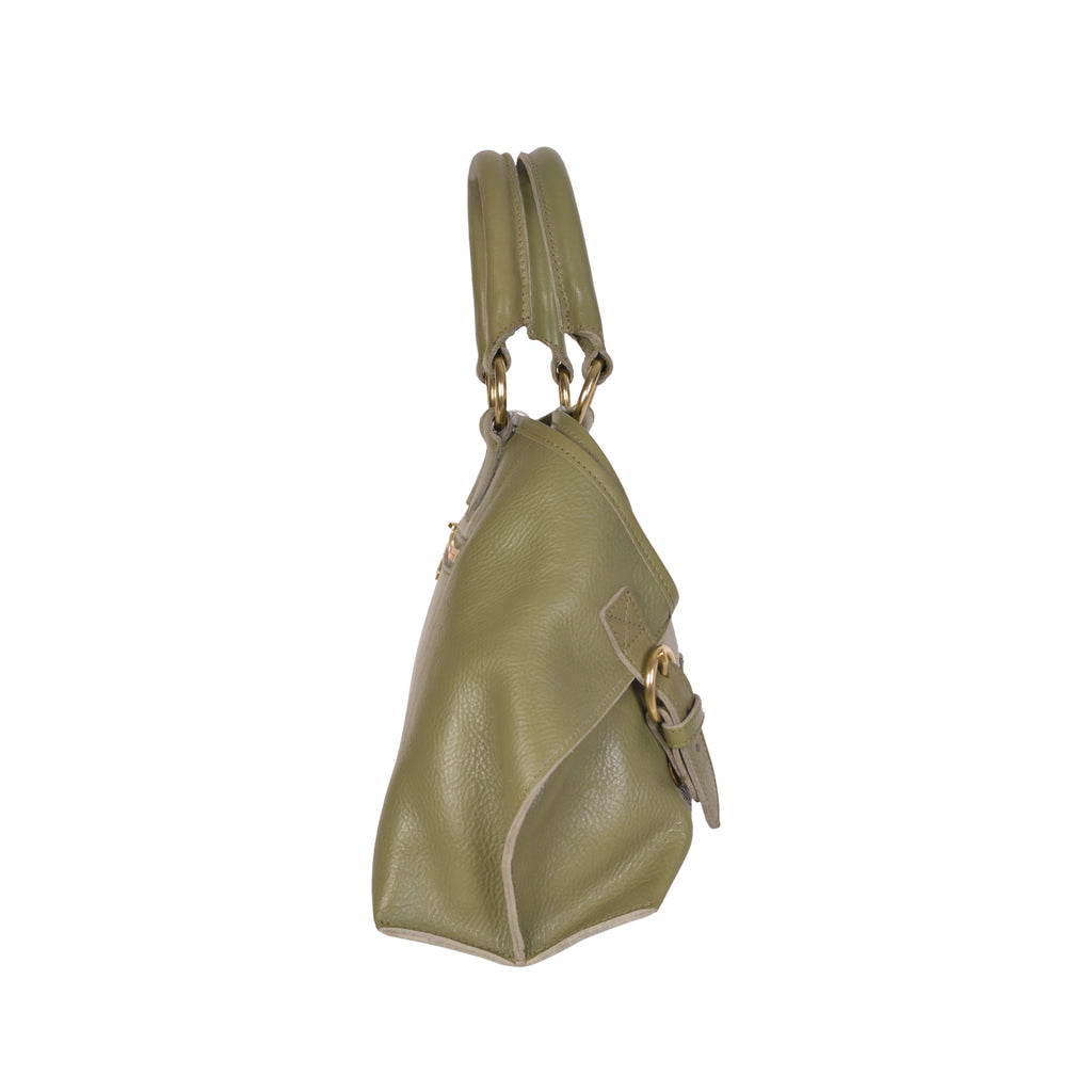 NEW IL BISONTE WOMAN'S SAVAGE COLLECTION HANDBAG IN OLIVE LEATHER