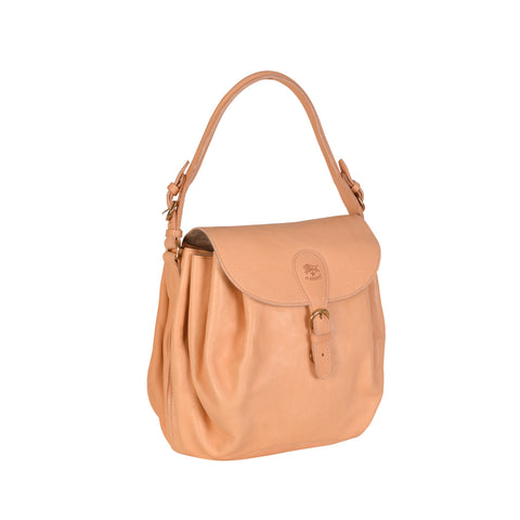 NEW IL BISONTE WOMAN'S CURLY COLLECTION SHOULDER BAG IN BEIGE LEATHER