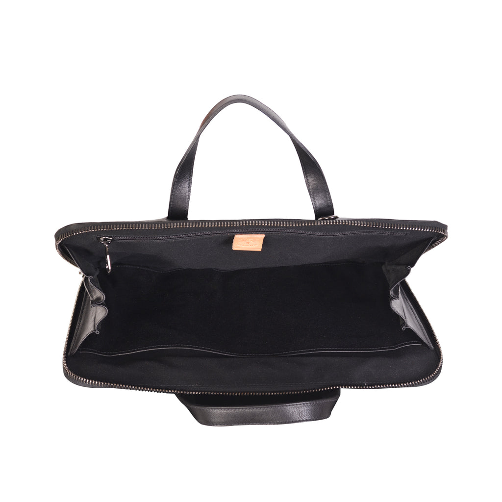NEW IL BISONTE MEN'S SPRINT COLLECTION BREIFCASE IN BLACK LEATHER