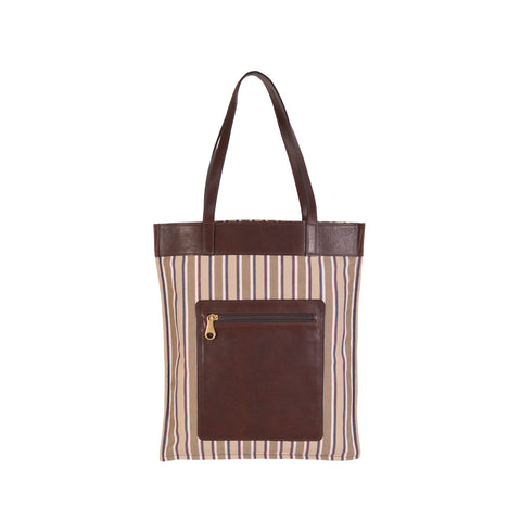 NEW IL BISONTE WOMAN'S FLAT TOTE BAG  IN BROWN STRIPED COTTON CANVAS