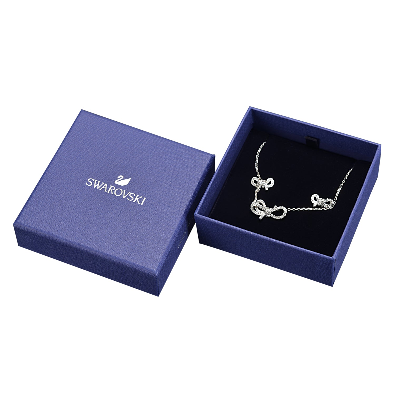 Swarovski Lifelong White Bow Set In Rhodium Plated | Shop Luxury Swarovski Necklace Set Online
