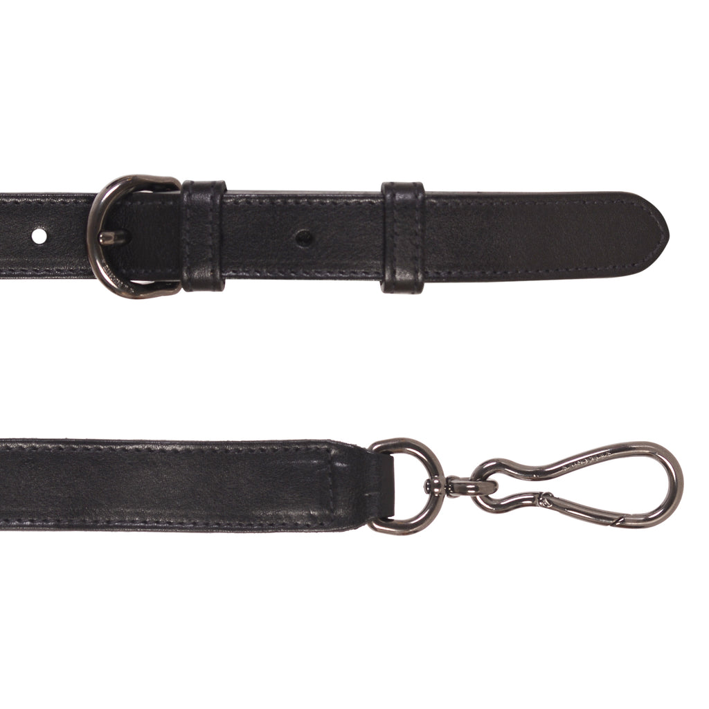 NEW IL BISONTE WOMAN'S SMALL SHOULDER STRAP IN BLACK LEATHER