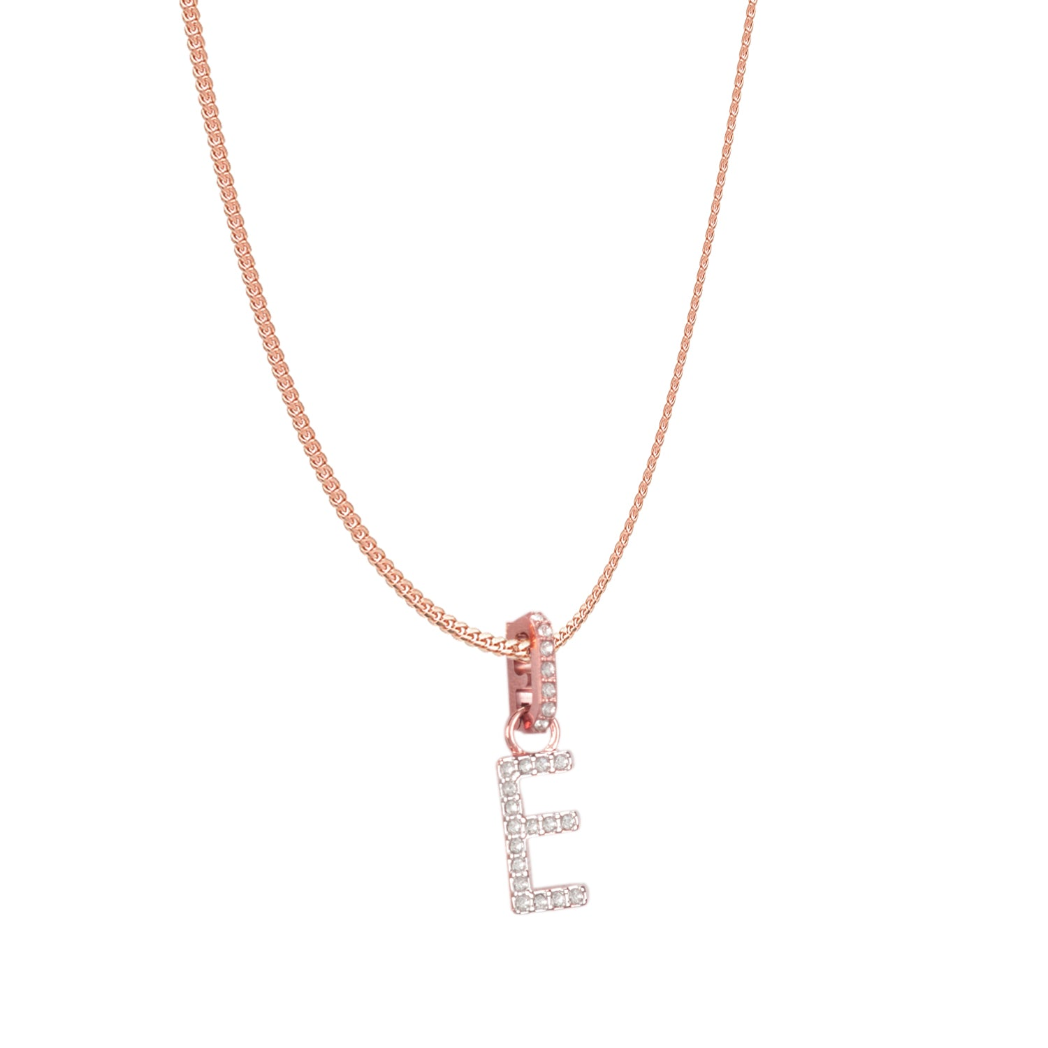 Swarovski Remix Collection E White Charm In Rose-Gold Tone Plated | Shop Luxury Swarovski Charm Online