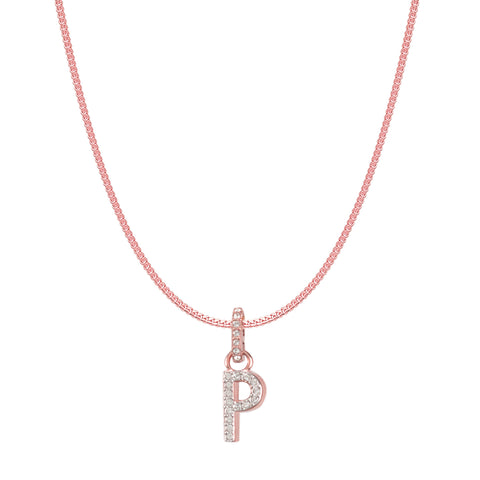 SWAROVSKI REMIX COLLECTION P WHITE CHARM IN ROSE-GOLD TONE PLATED