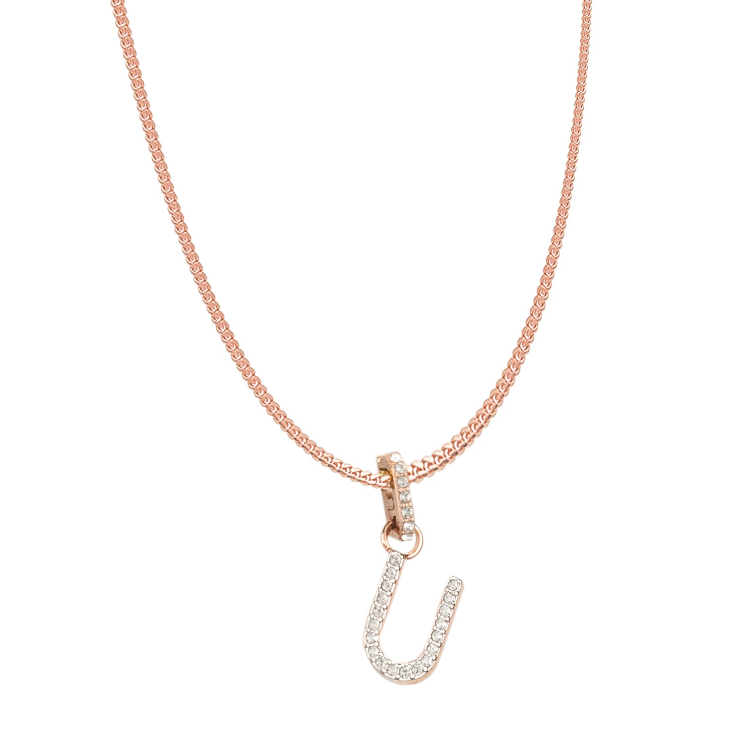Swarovski Remix Collection U White Charm In Rose-Gold Tone Plated | Shop Luxury Swarovski Charm Online
