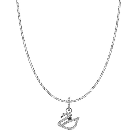 SWAROVSKI REMIX COLLECTION WHITE SWAN CHARM IN RHODIUM PLATED