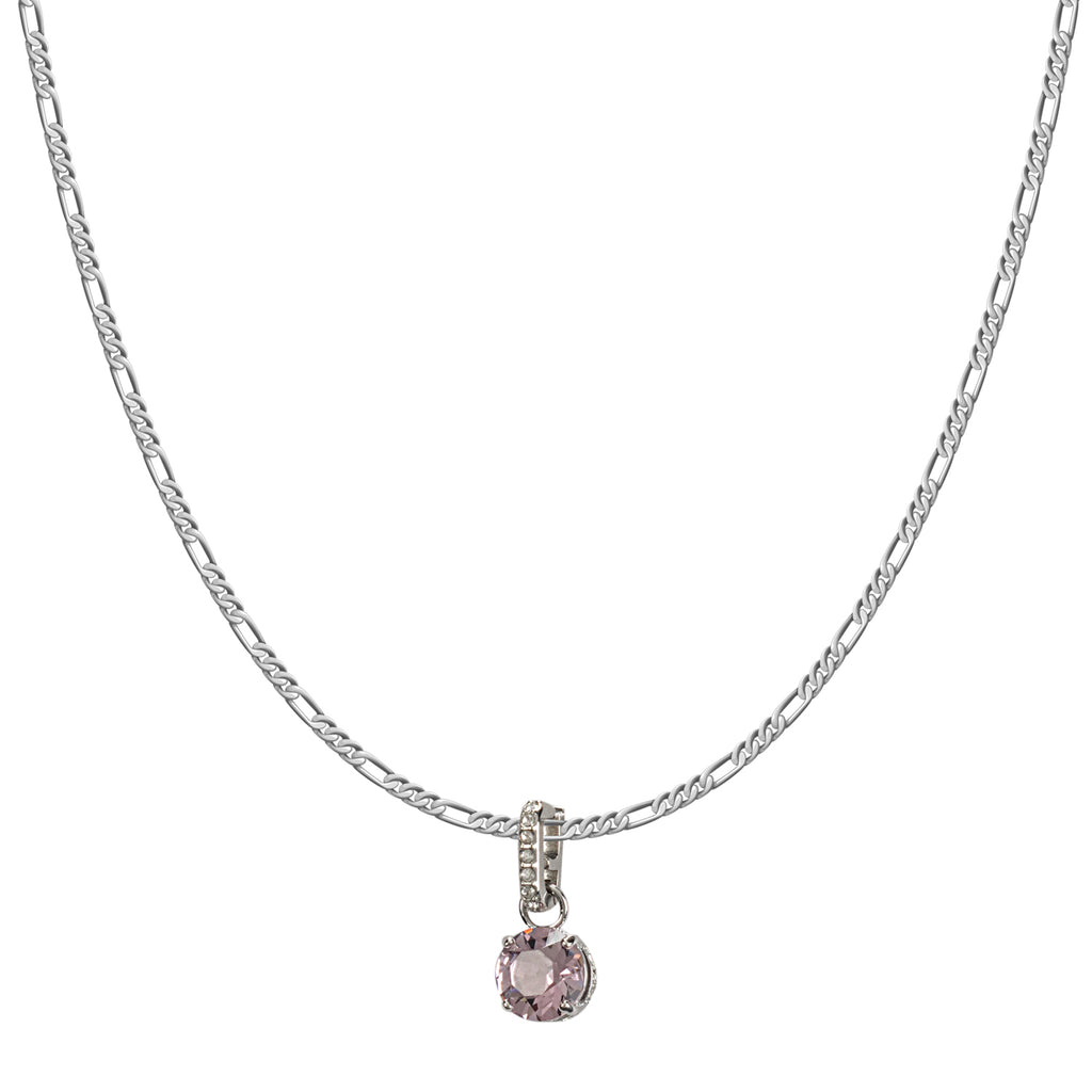 Swarovski Remix Collection Pink October Charm In Rhodium Plated | Shop Luxury Swarovski Charm Online