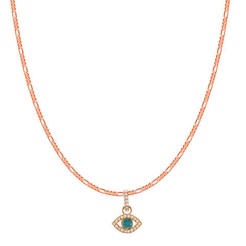 SWAROVSKI REMIX COLLECTION MULTI-COLORED EVIL EYE CHARM IN ROSE-GOLD TONE PLATED