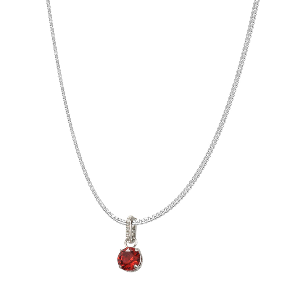 SWAROVSKI REMIX COLLECTION DARK RED JULY CHARM IN RHODIUM PLATED