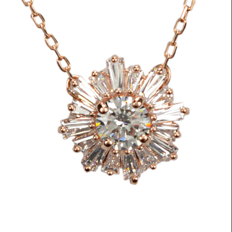 SWAROVSKI SUNSHINE WHITE PENDANT IN ROSE-GOLD TONE PLATED