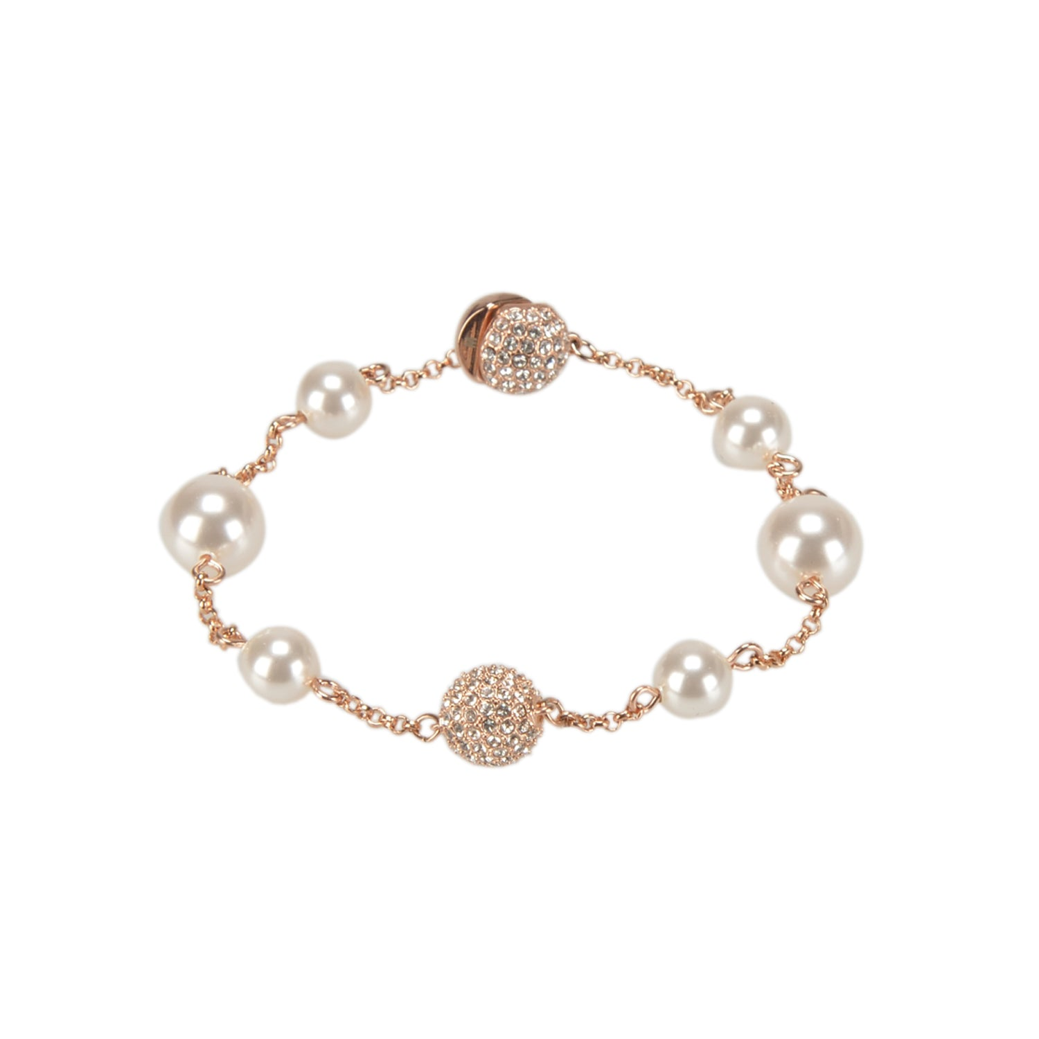 Swarovski Remix Collection White Round Pearl Strand In Rose-Gold Tone Plated | Shop Luxury Swarovski Bracelet Online