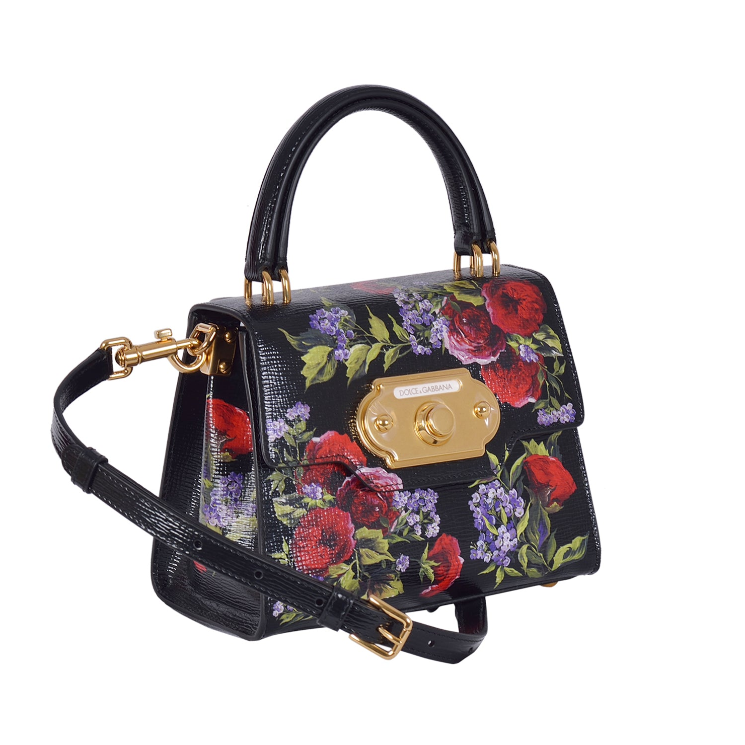 DOLCE & GABBANA Black Flower Print Mini Bag