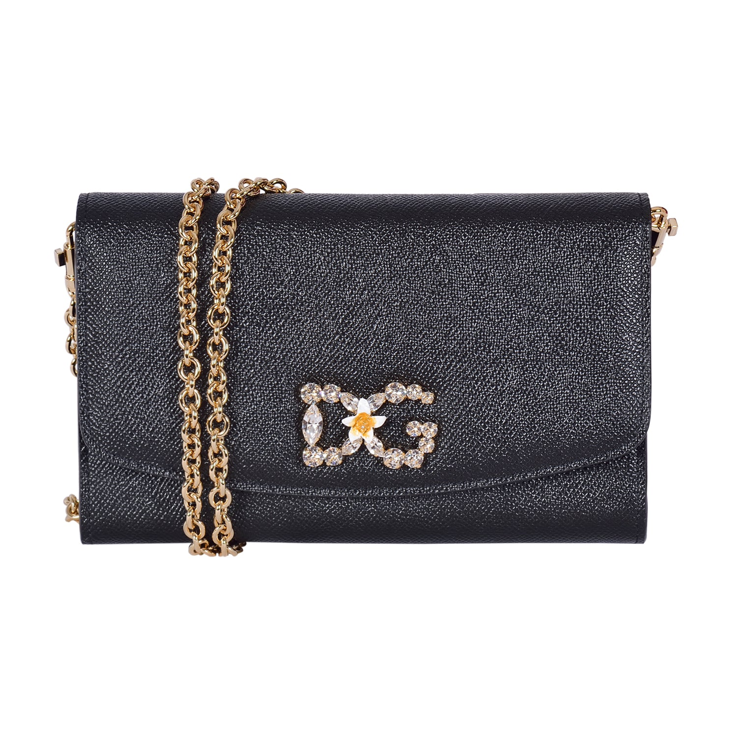 DOLCE & GABBANA Black Dauphine Calfskin Leather Clutch