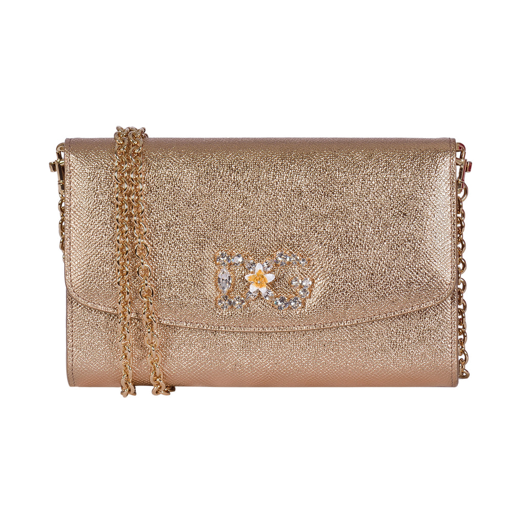 DOLCE & GABBANA Gold Dauphine Calfskin Leather Clutch