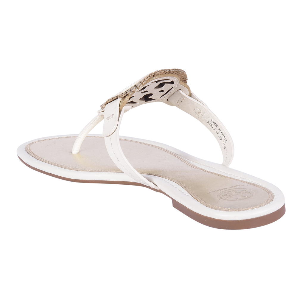 TORY BURCH BLEACH/ SPARK GOLD/ BLEACH MILLER FRINGE SANDALS