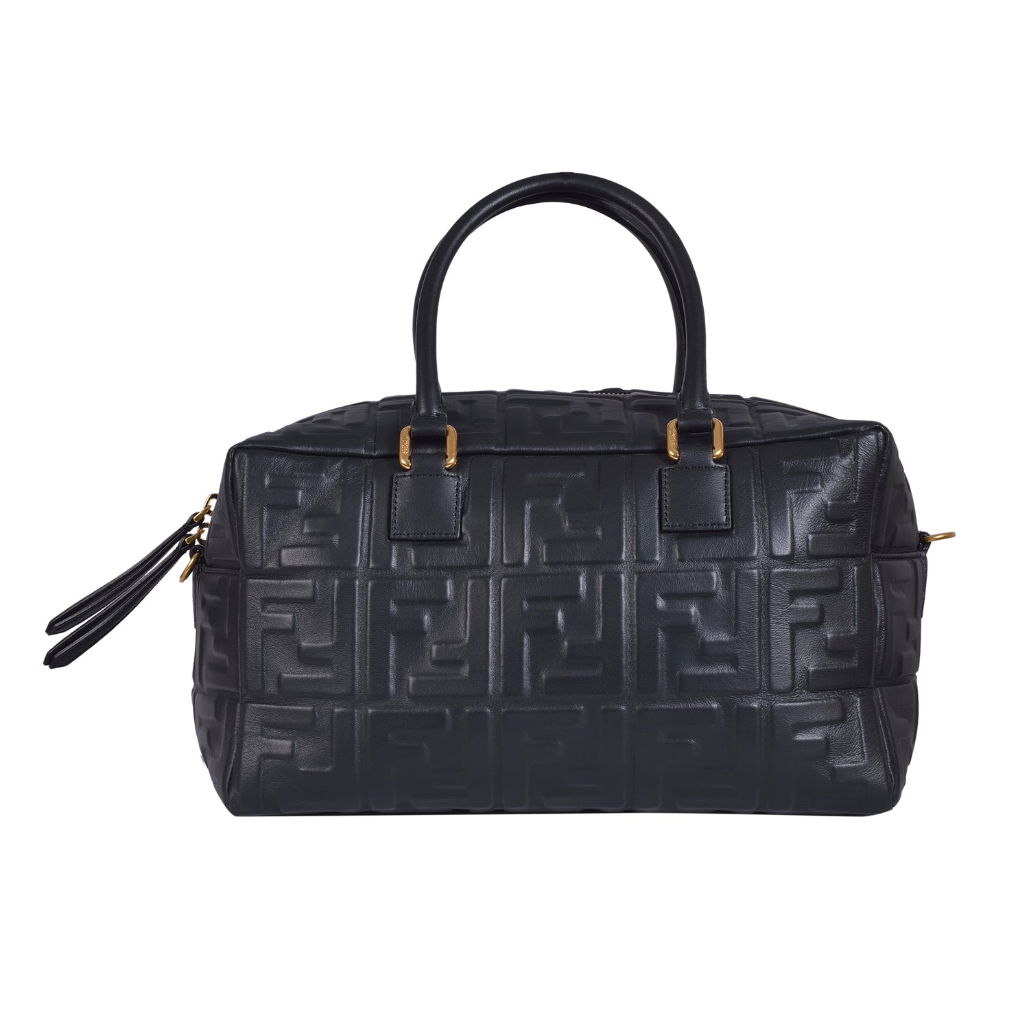 Fendi Black Lambskin Leather Boston Bag