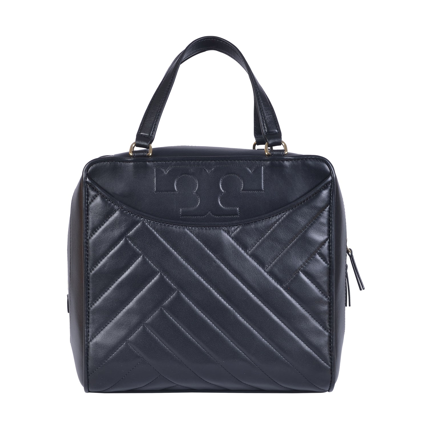 TORY BURCH ALEXA BLACK LEATHER SATCHEL BAG
