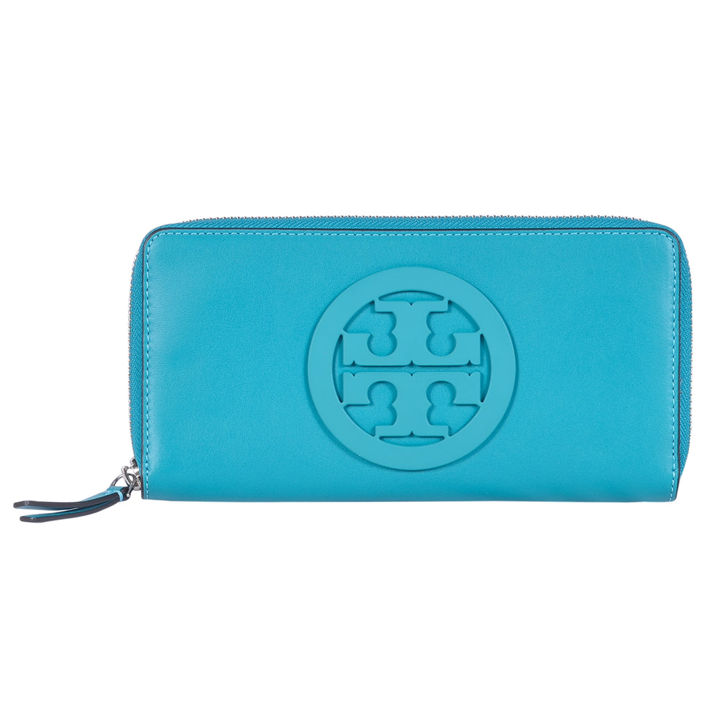 TORY BURCH RIBBON TURQUOISE CHARLIE CONTINENTAL WALLET