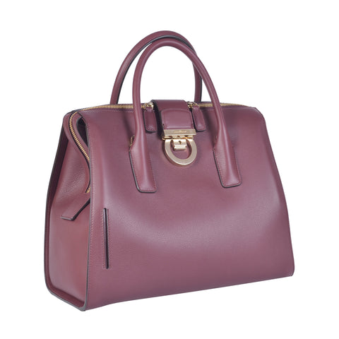 SALVATORE FERRAGAMO WINE GANCINI LOCK DOCTOR BAG