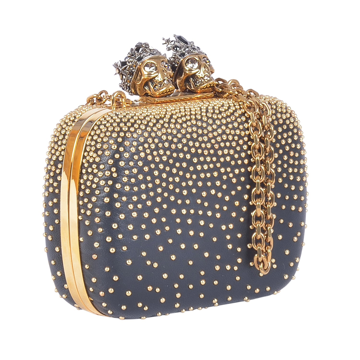 ALEXANDER MCQUEEN MINI KING & QUEEN CLUTCH BLACK WOMEN BAGS