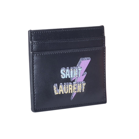SAINT LAURENT MEN'S BLACK ECLAIR CARDHOLDER