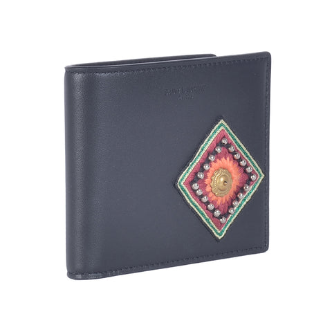 SAINT LAURENT ETHNIC EMBROIDERY PATCH BILLFOLD WALLET