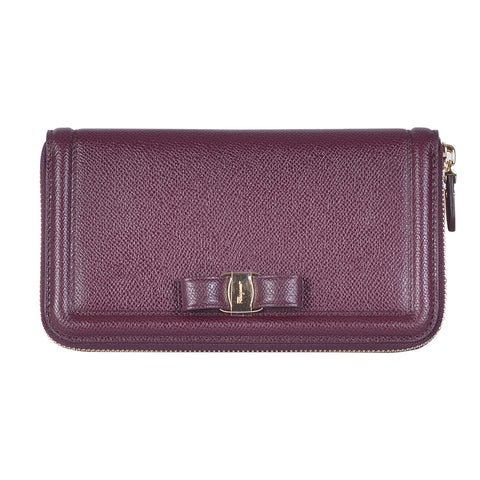 SALVATORE FERRAGAMO WINE  VARA BOW ZIP WALLET
