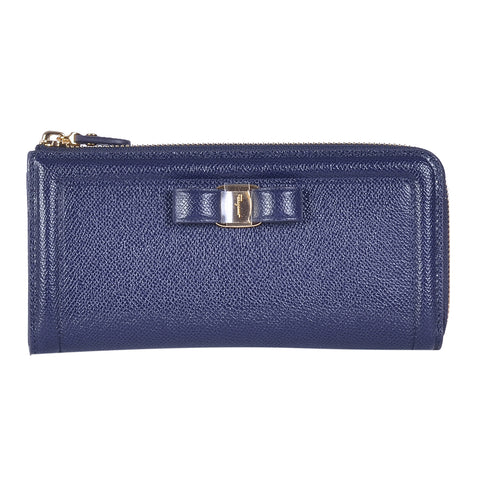 SALVATORE FERRAGAMO NAVY ZIP AROUND WALLET
