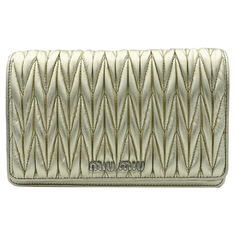 Miu Miu Gold Quilted Clutch  | Shop MIU MIU Online India