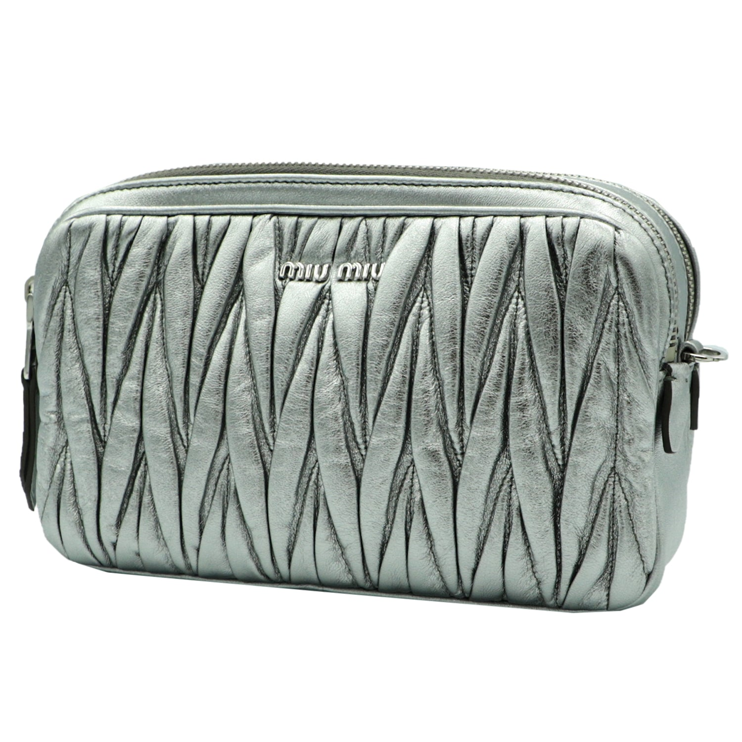 Miu Bandolier Silver Bag  | Shop MIU MIU Online India