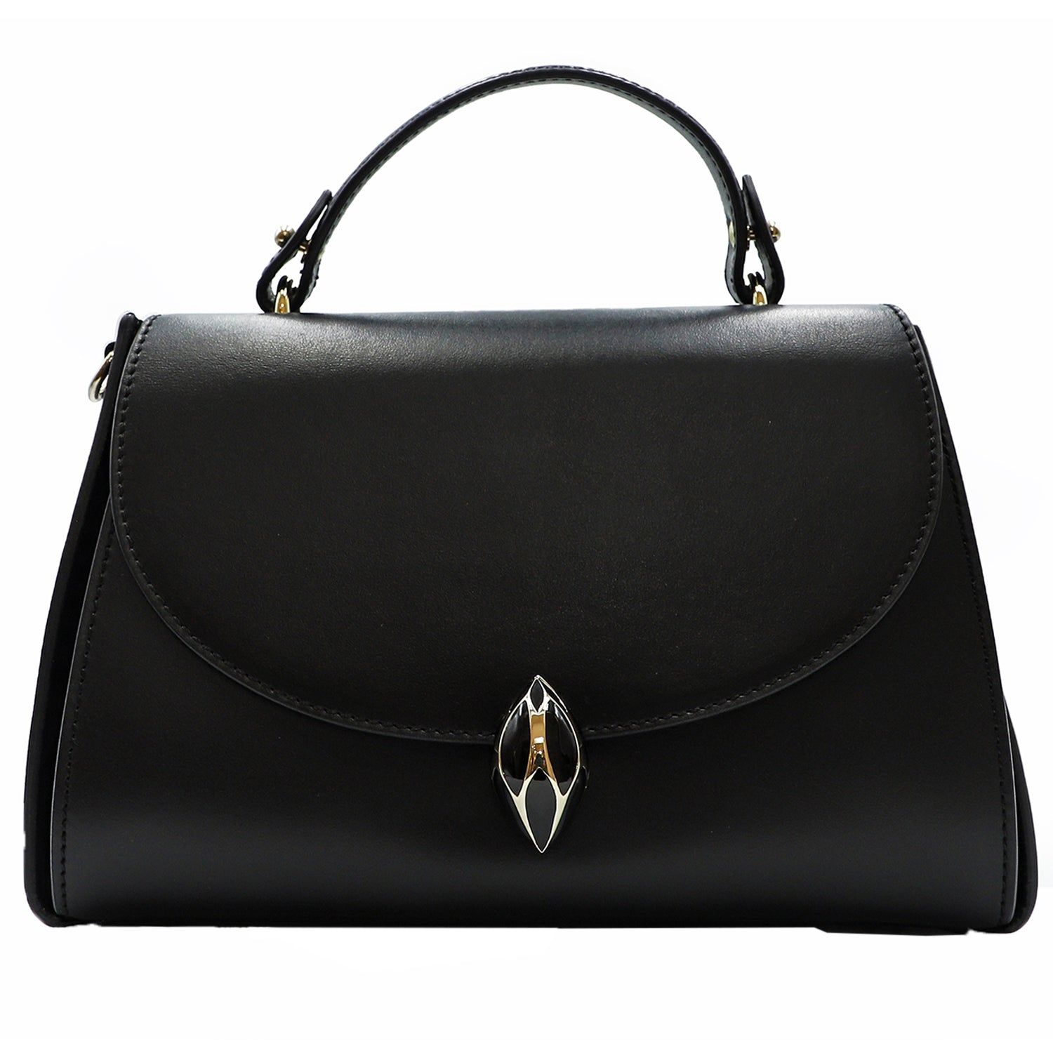 F.E.V Black Plain Leather Cortina Top Handle Bag | Shop FEV Online India