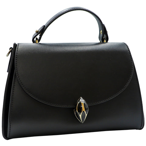 F.E.V BLACK PLAIN LEATHER CORTINA TOP HANDLE BAG