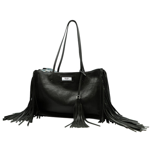 BLACK GLACE ETIQUETTE TOTE BAG