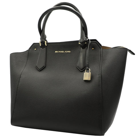 MICHAEL KORS HAYES LARGE TOTE LEATHER BLACK