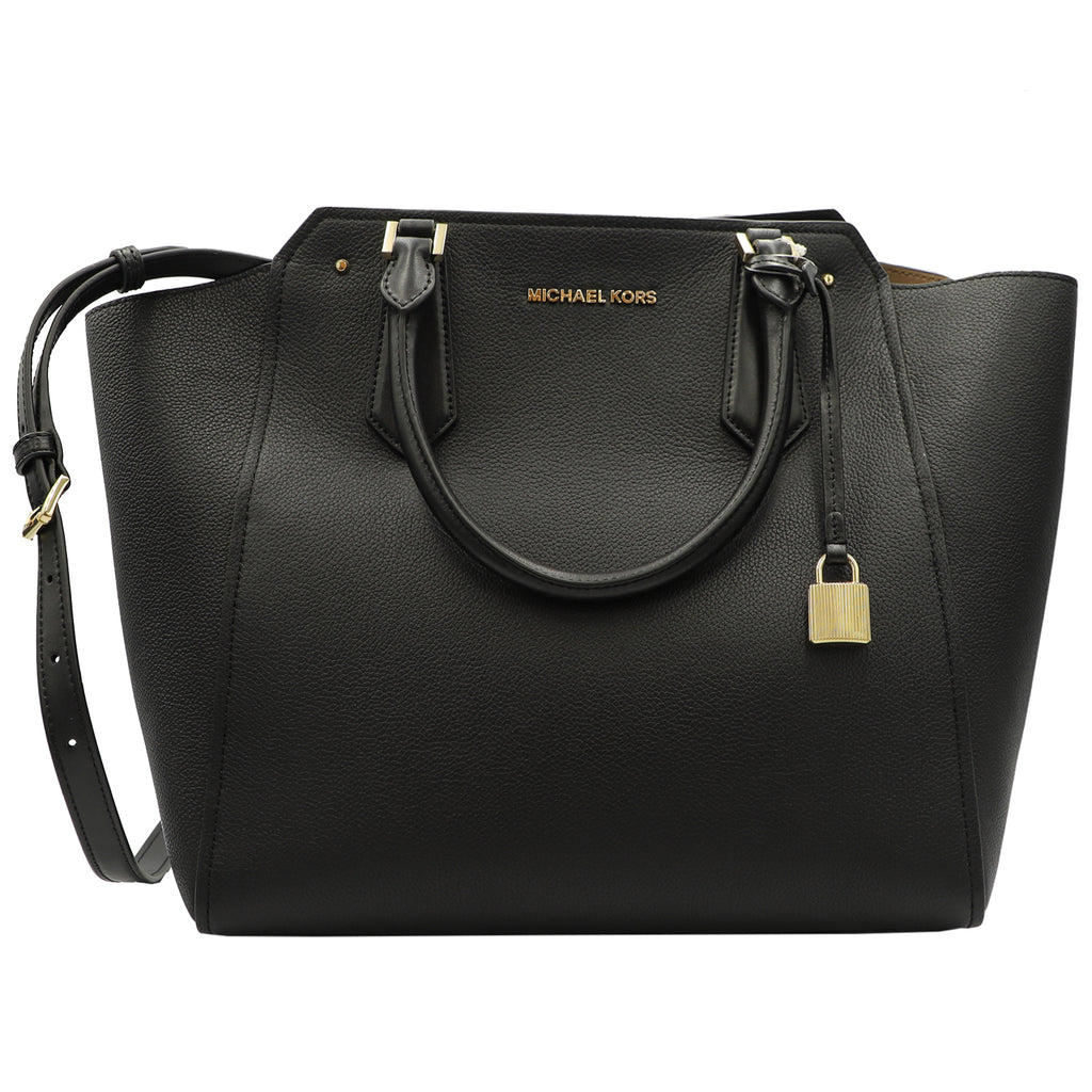 Michael Kors Hayes Large Tote Leather Black | Shop MICHAEL KORS Online India