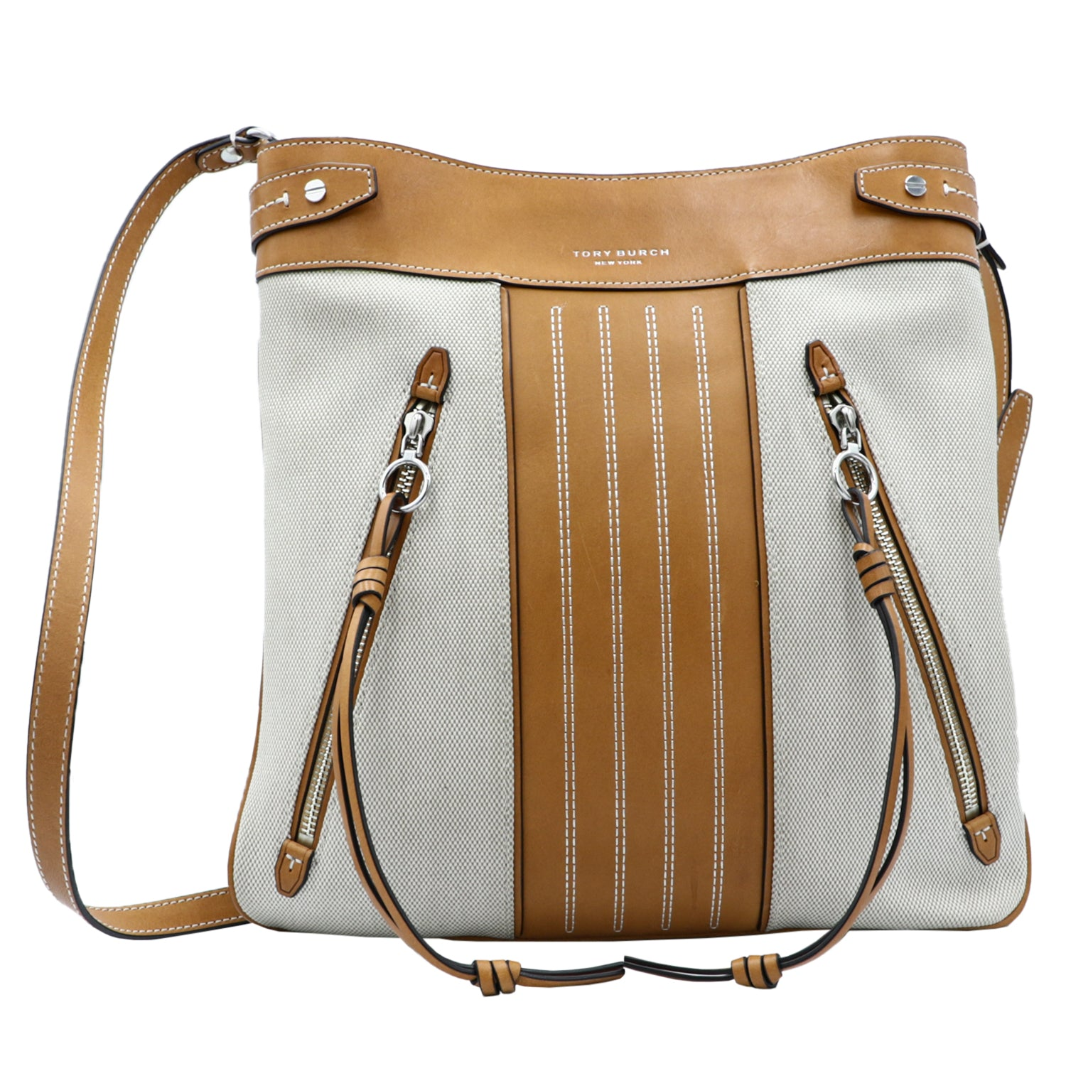 Moto Swingpack Canvas & Leather Crossbody Tote - Ivory In Natural | Shop TORY BURCH Online India