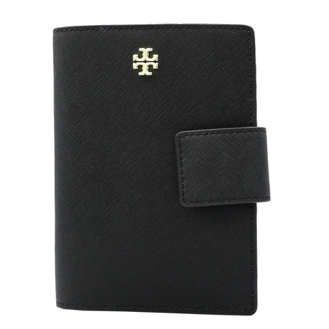 TORY BURCH BLACK EMERSON LEATHER PASSPORT HOLDER