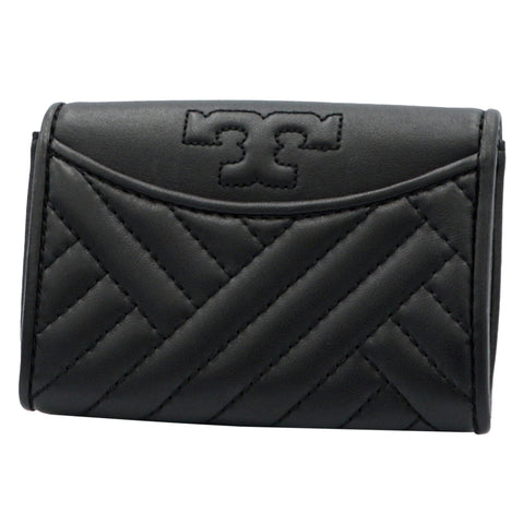 TORY BURCH ALEXA BLACK FOLDABLE MINI LEATHER WALLET