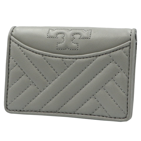 TORY BURCH ALEXA CONCRETE FOLDABLE MINI LEATHER WALLET