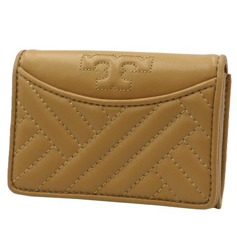 TORY BURCH ALEXA AGED VACHETTA FOLDABLE MINI LEATHER WALLET