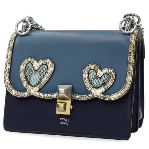 FENDI KAN I BLUE CHAIN SHOULDER BAG
