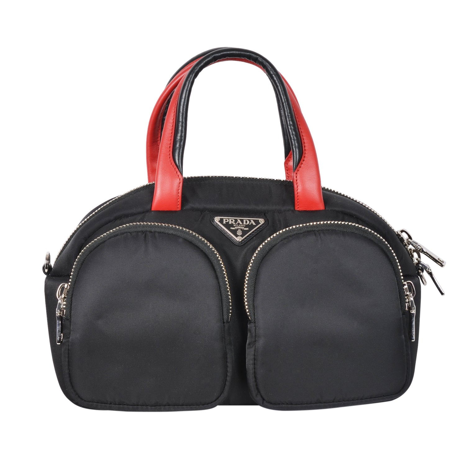 Prada black & fiery red small top-handle bag in cruelty free nylon material. | Shop Luxury Handbag Online