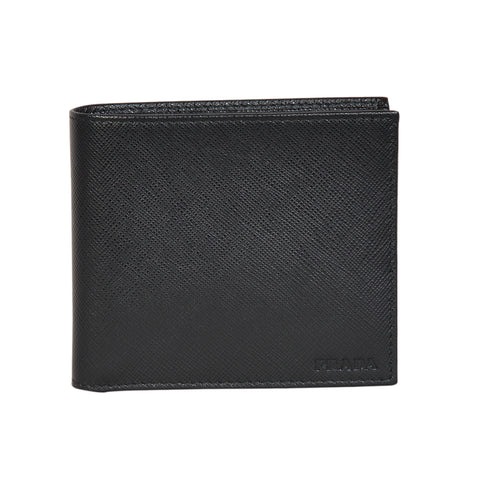 Prada saffiano black 8-slot wallet in saffiano calf leather. | Shop Luxury Wallet Online