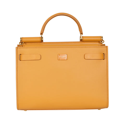 D&G sicily 62 mustard top handle bag in high quality leather. | Shop Luxury Handbag Online