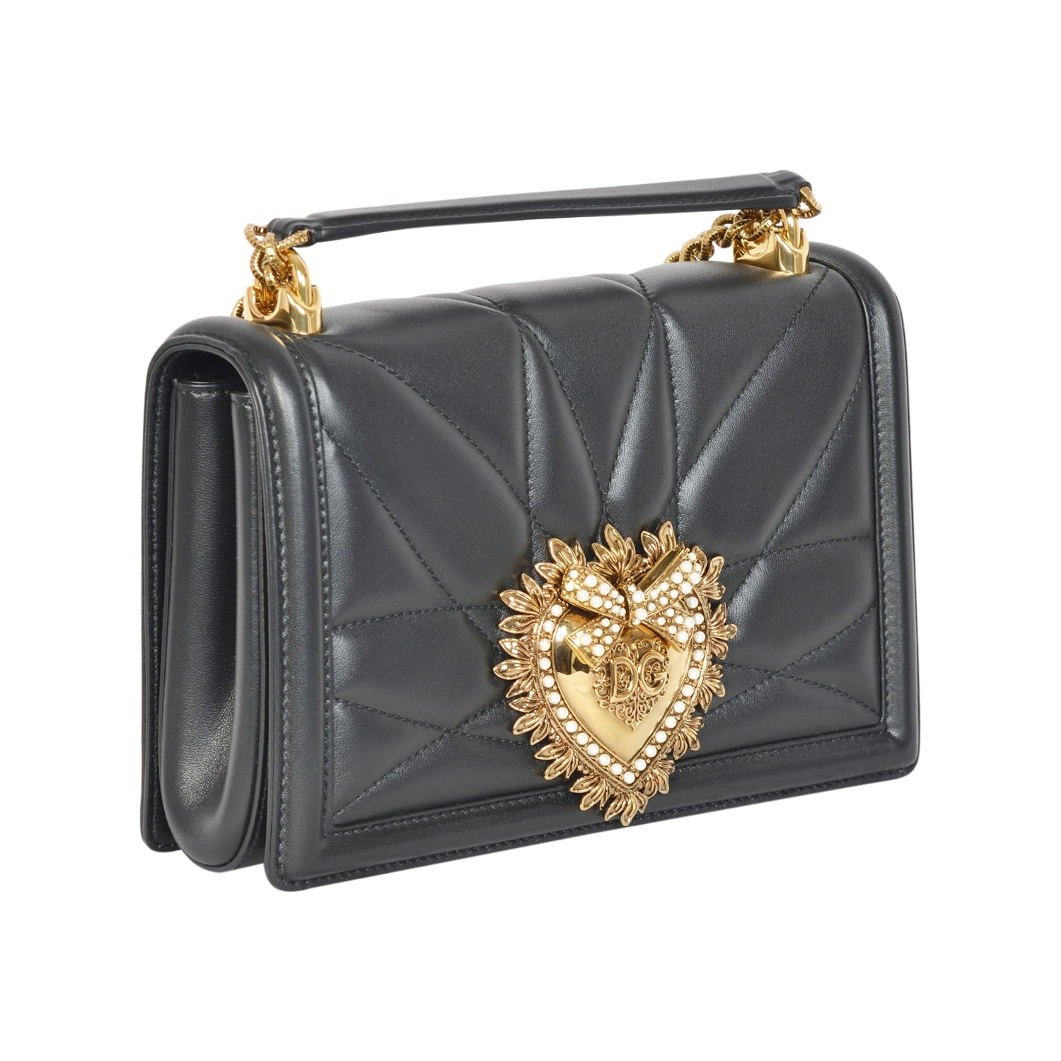 D&G devotion quilted black crossbody bag in nappa leather. | Shop Luxury Handbag Online
