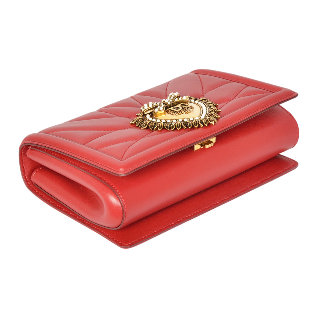 D&G devotion quilted red crossbody bag in nappa leather. | Shop Luxury Handbag Online