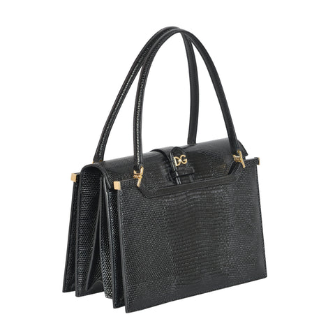 INGRID IGUANA PRINT BLACK TOTE BAG