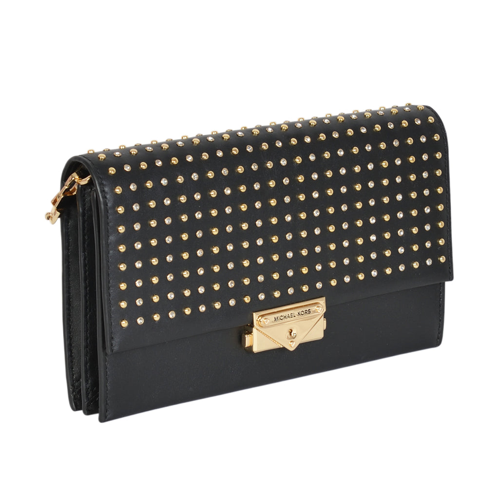 Michael Kors black Cece crossbody bag in studded leather | Shop Luxury Crossbody Bag Online