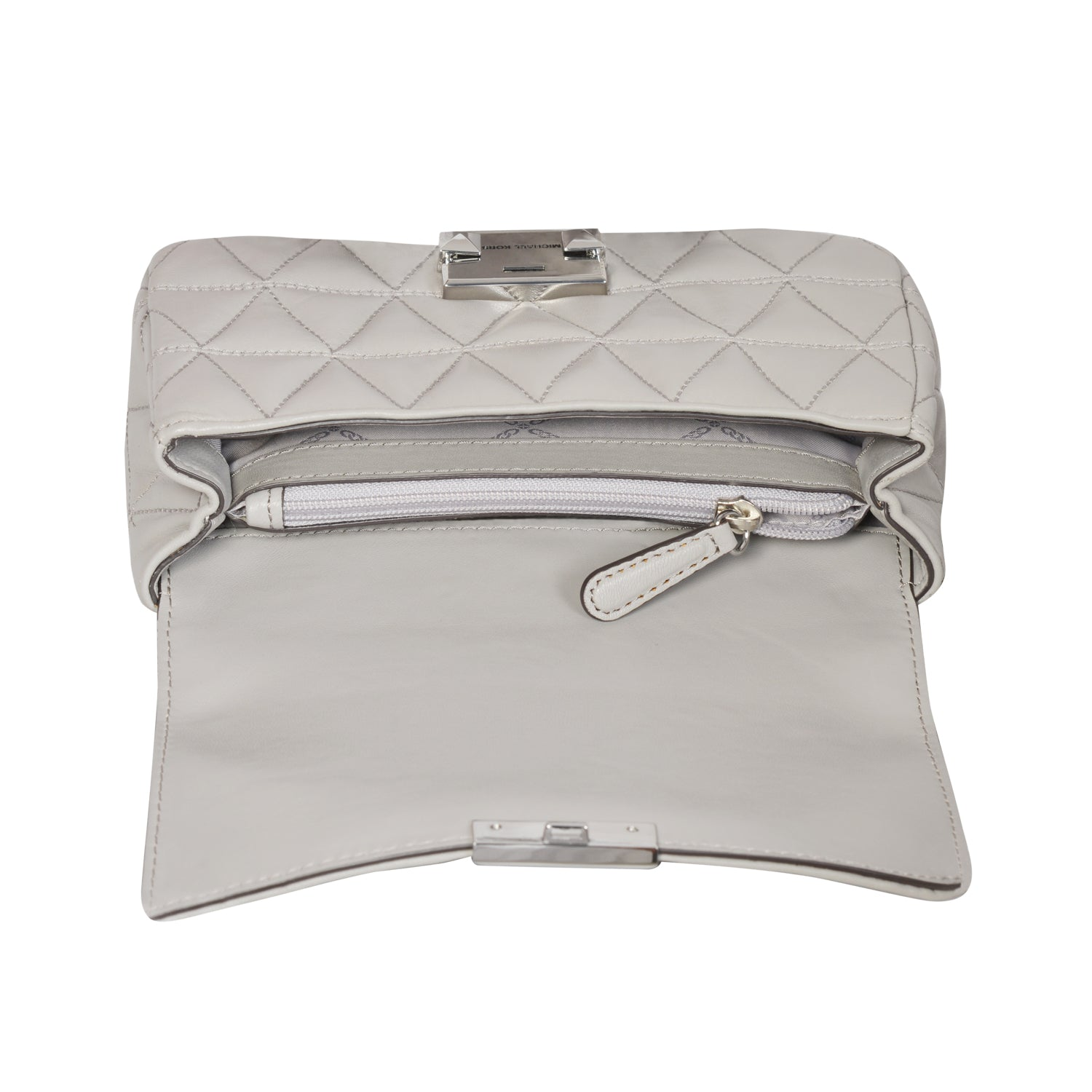 Michael Kors grey Sloan crossbody bag in sheepskin leather | Shop Luxury Shoulder Bag Online